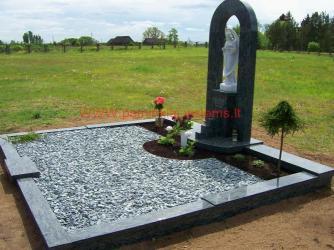 Šeimyninis kapas - Olivin grin granitas , granito grudeliai , skulptura -